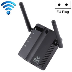 300Mbps Wireless-N Range Extender WiFi Repeater Signaalversterker Netwerkrouter met 2 externe antennes, EU-stekker (zwart)