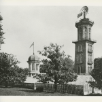Early image of Bell Tower with green house