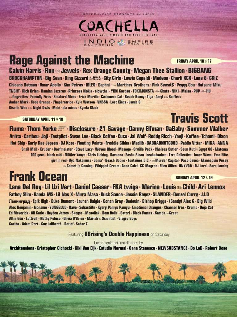 Coachella 2020 line up