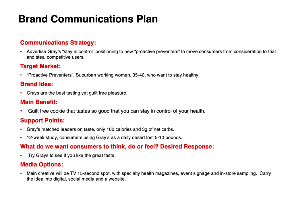 Brand Plan example Marketing Plan template