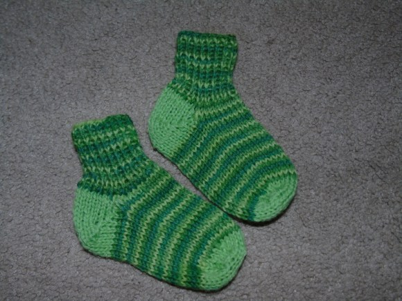 green socks with coordinating heels and toes