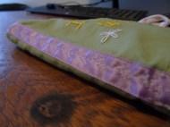 leaf design on the ribbon binding
