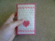 heart and patterned stitches on the front