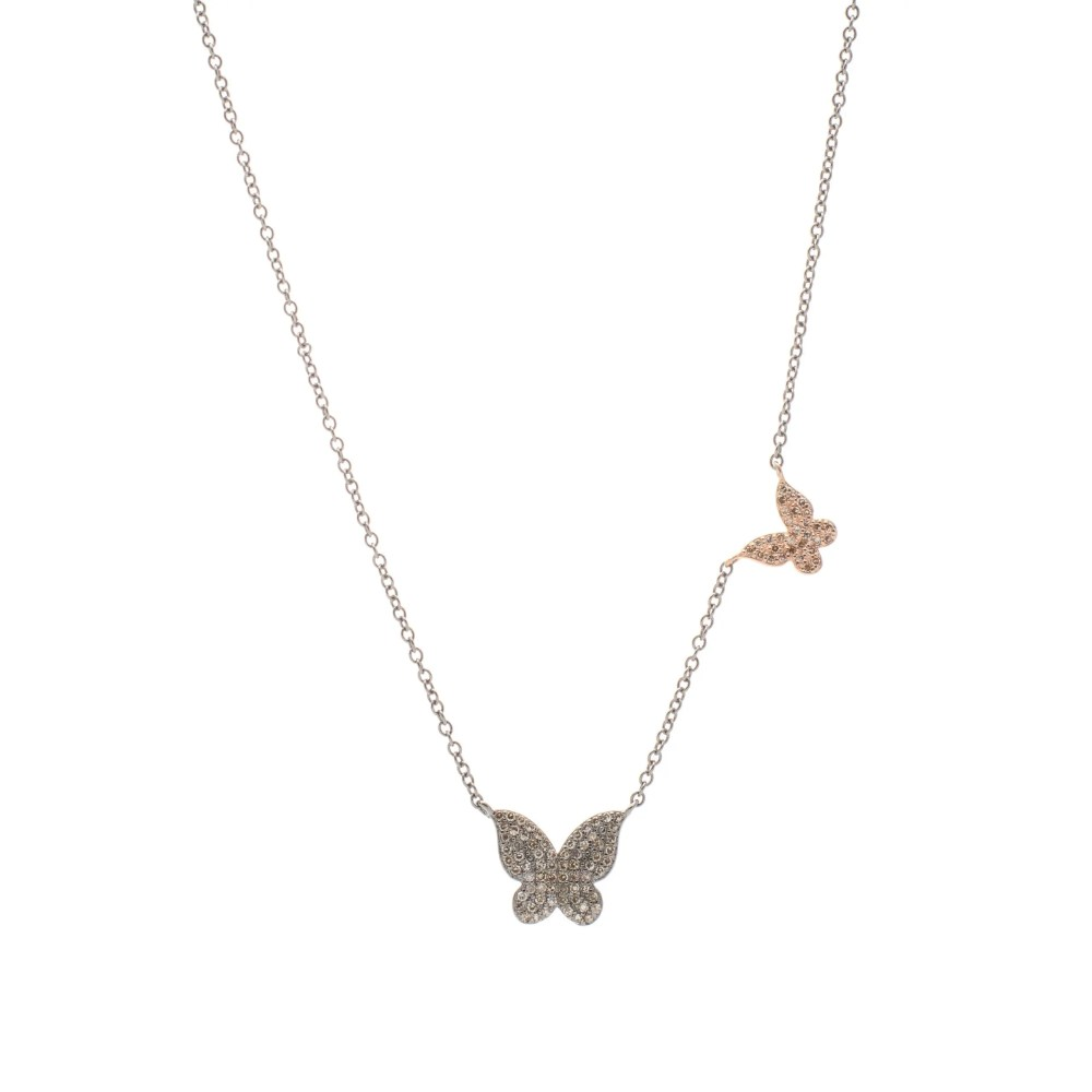 Diamond Butterflies Necklace Silver and Rose Gold