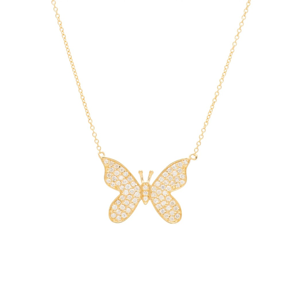 Diamond Butterfly Necklace Yellow Gold