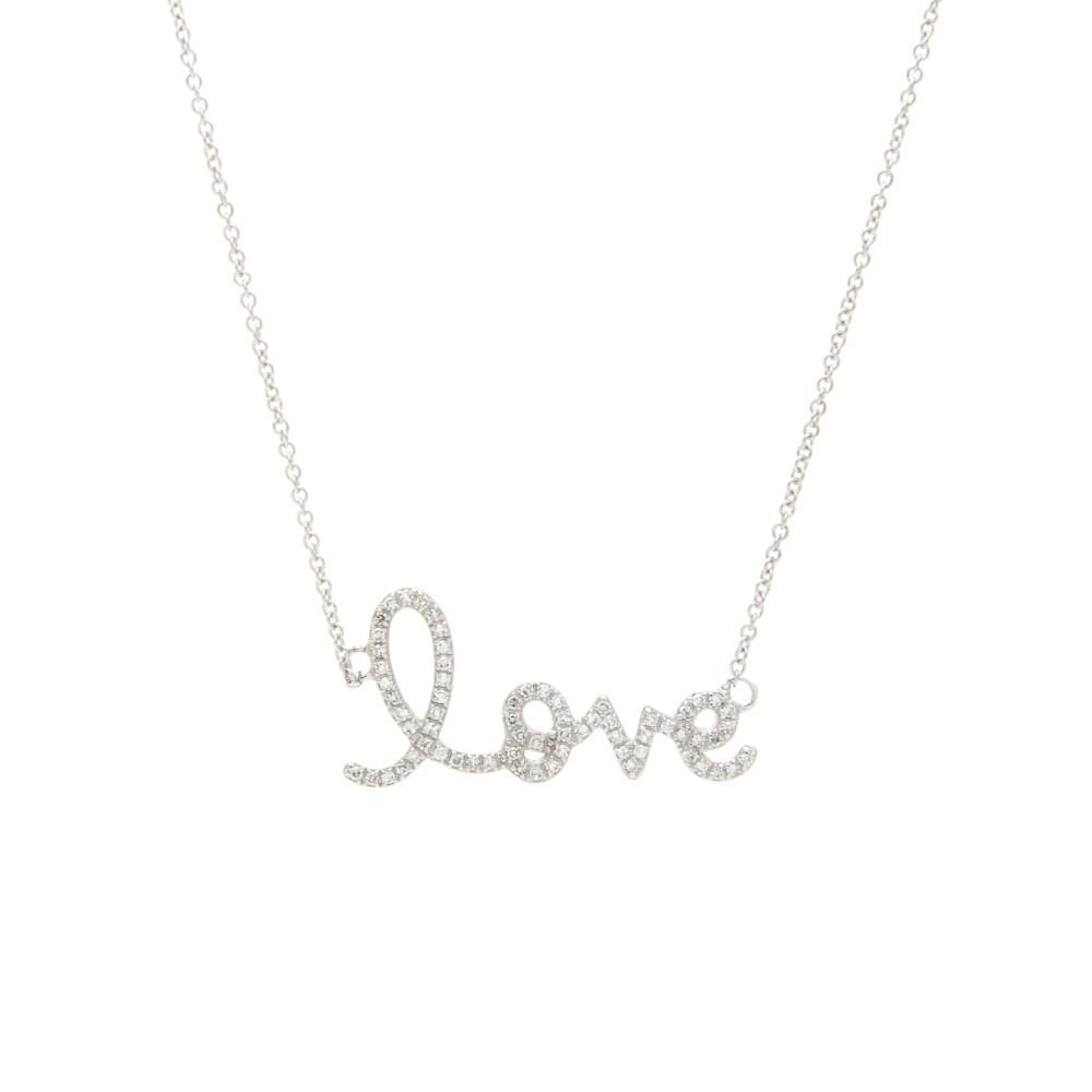 Diamond Love Script Necklace White Gold