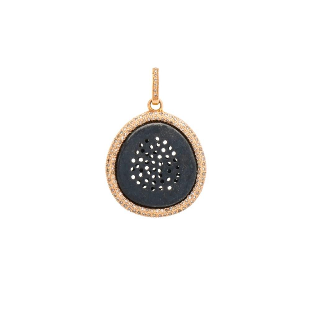 Diamond Pinhole Disc Charm Yellow Gold