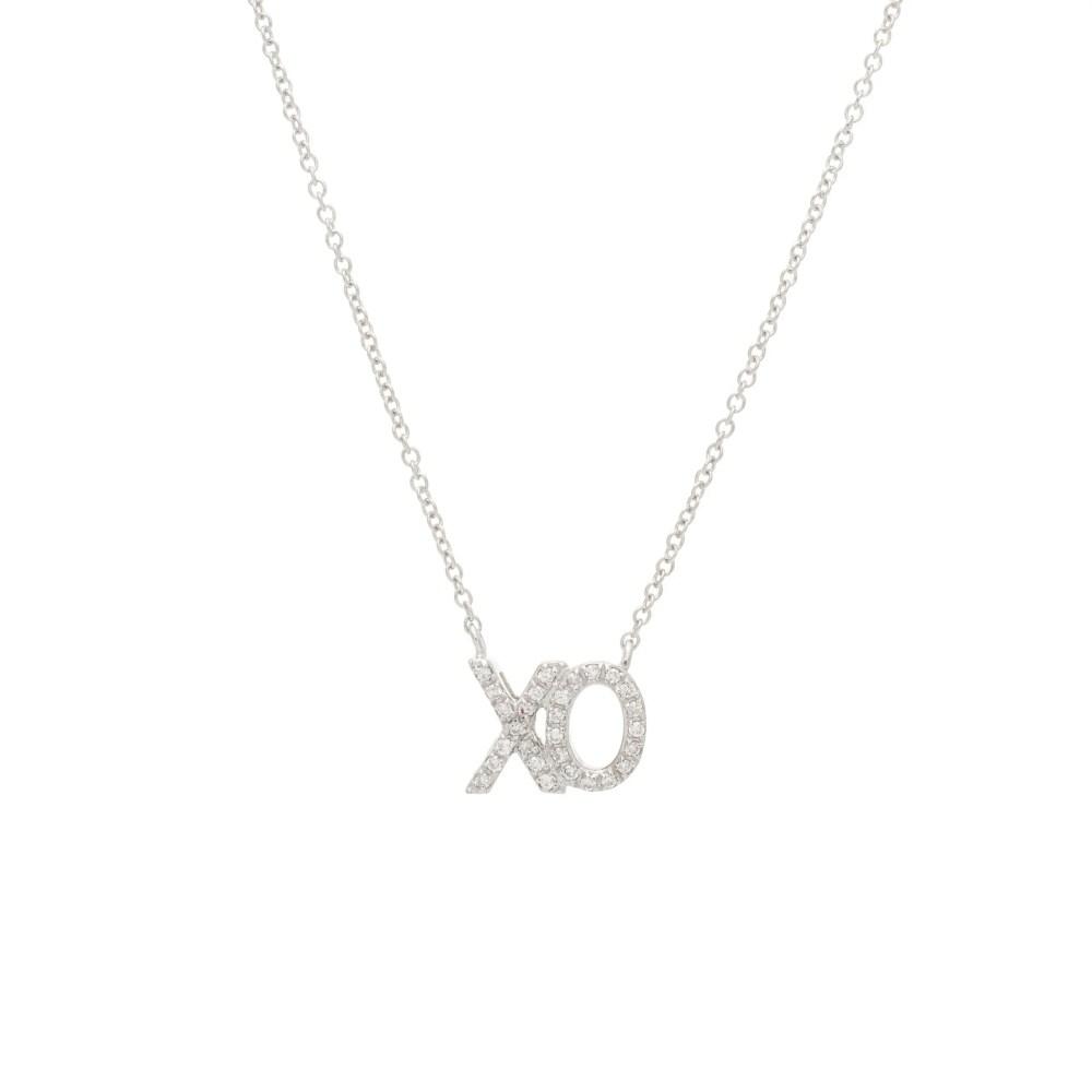 Diamond XO Necklace 14k White Gold