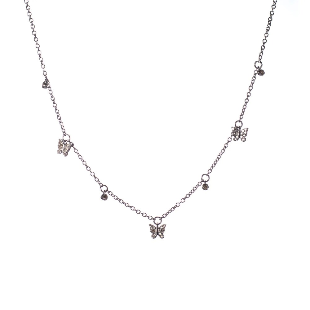 Diamond Dangling Butterfly Charm Necklace