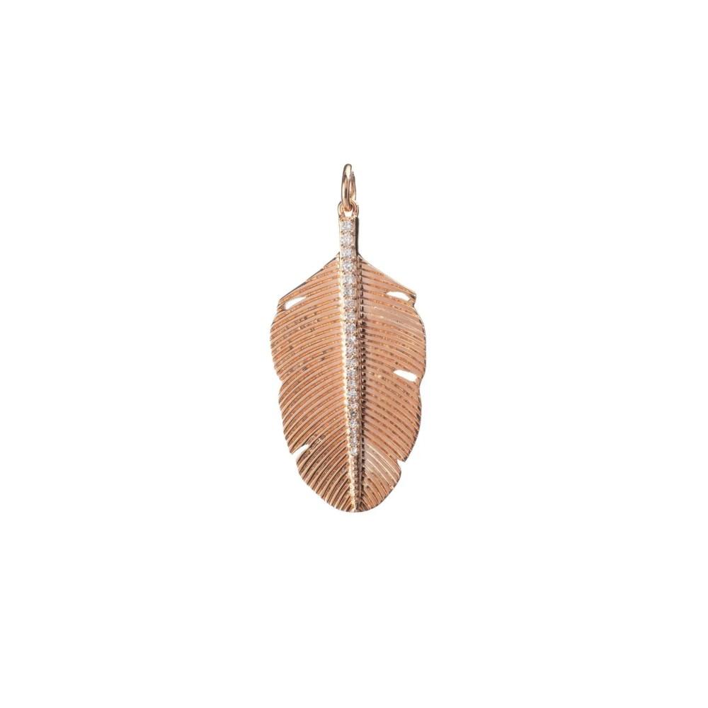 Diamond Small Feather Charm