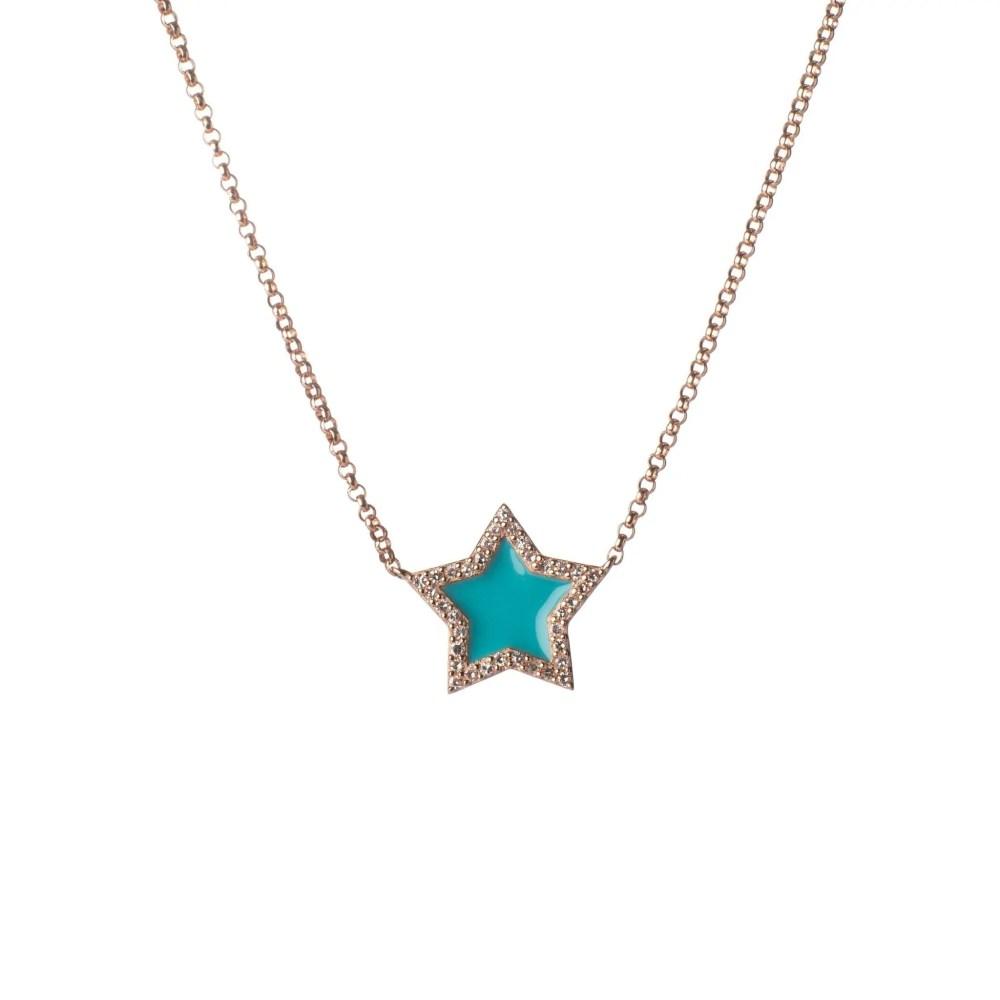 Diamond Mini Turquoise Enamel Star Necklace