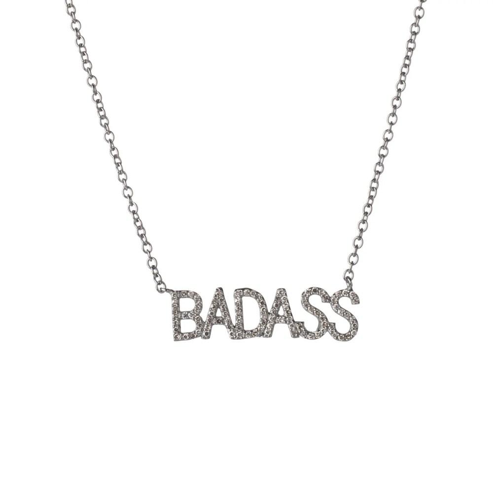 Diamond BADASS Mantra Necklace