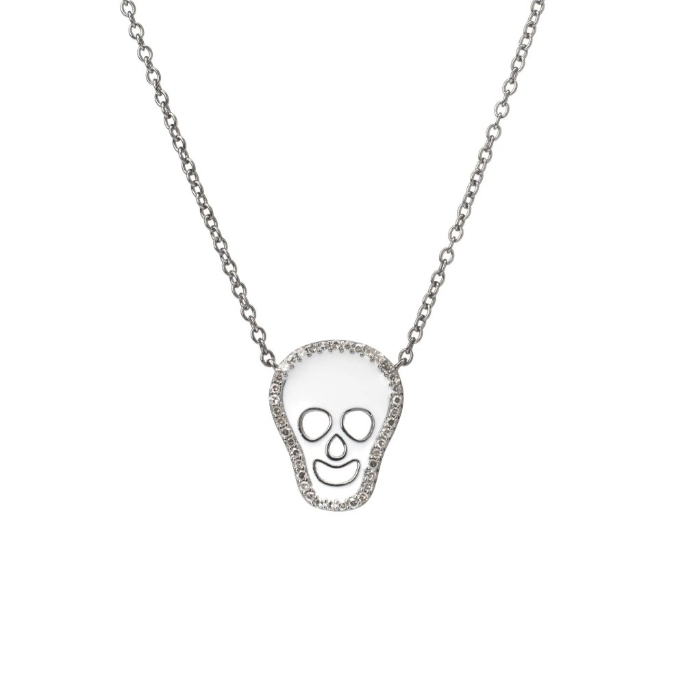 Diamond White Enamel Skull Necklace