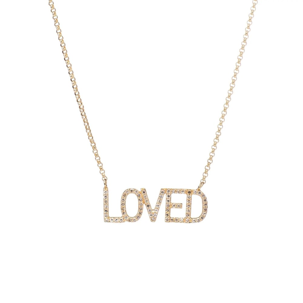 Diamond LOVED Mantra Necklace