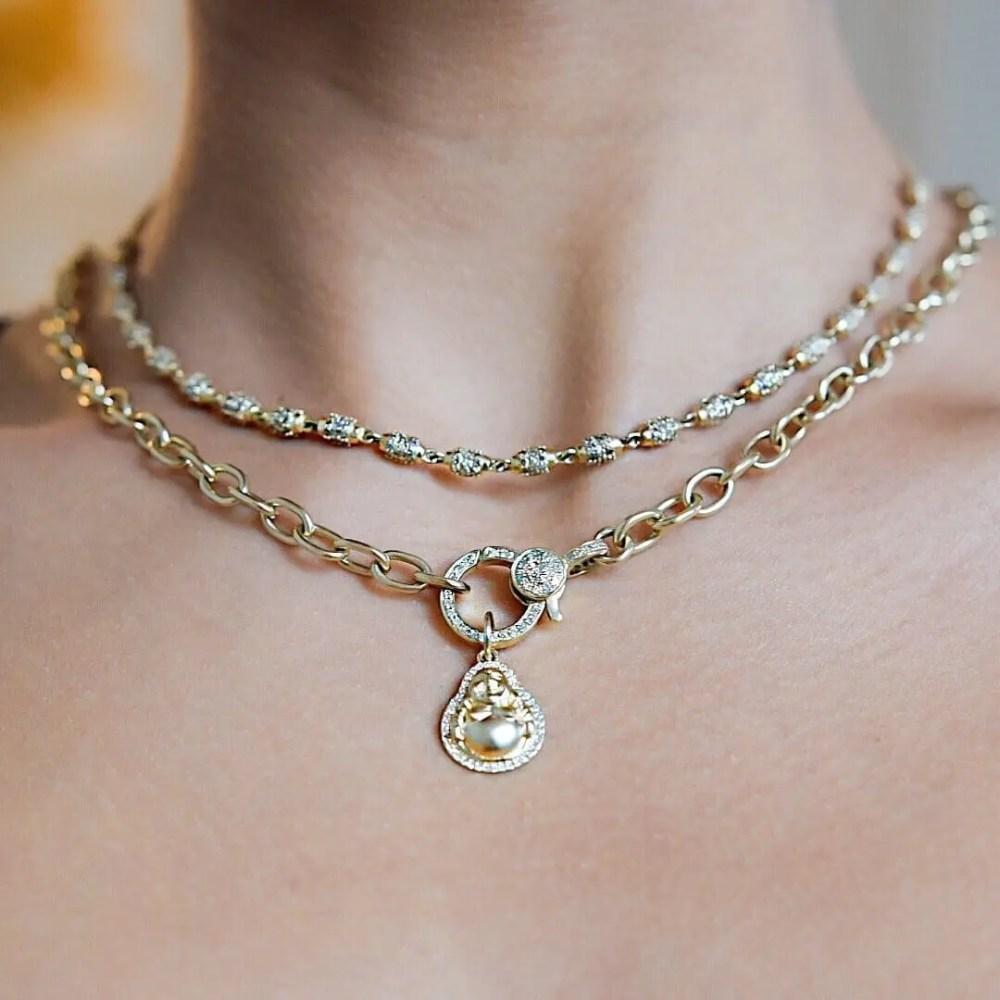 Pave Diamond Beaded Necklace