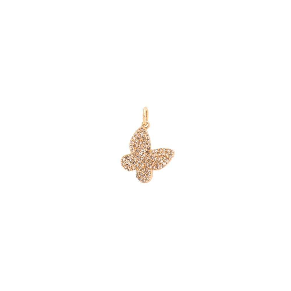 Small Diamond Butterfly Charm Rose Gold