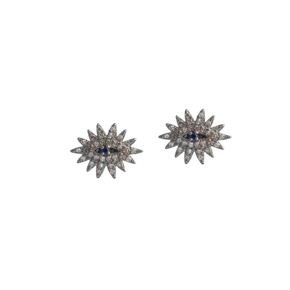Diamond Eyelash Studs with Sapphire Sterling Silver