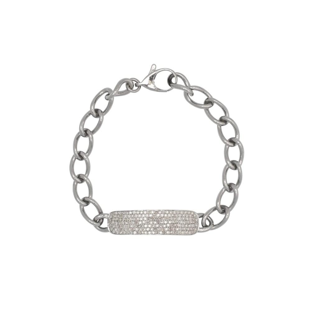 Diamond ID Bracelet Sterling Silver