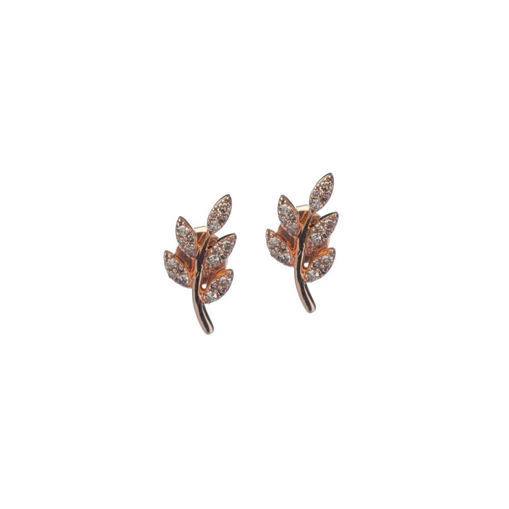 Diamond Leaf Studs Rose Gold