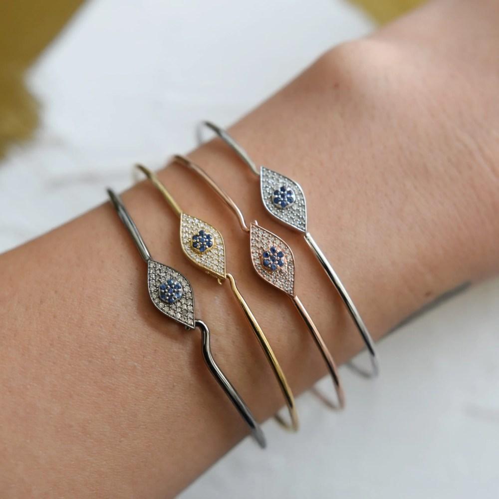 Diamond + Sapphire Evil Eye Wire Bracelet