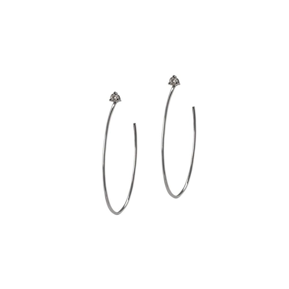 Diamond Stud Hoop Earrings Sterling Silver