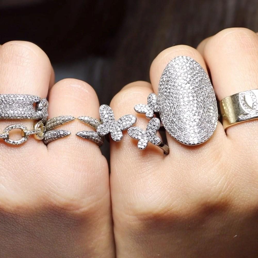 Diamond Triple Butterfly Ring