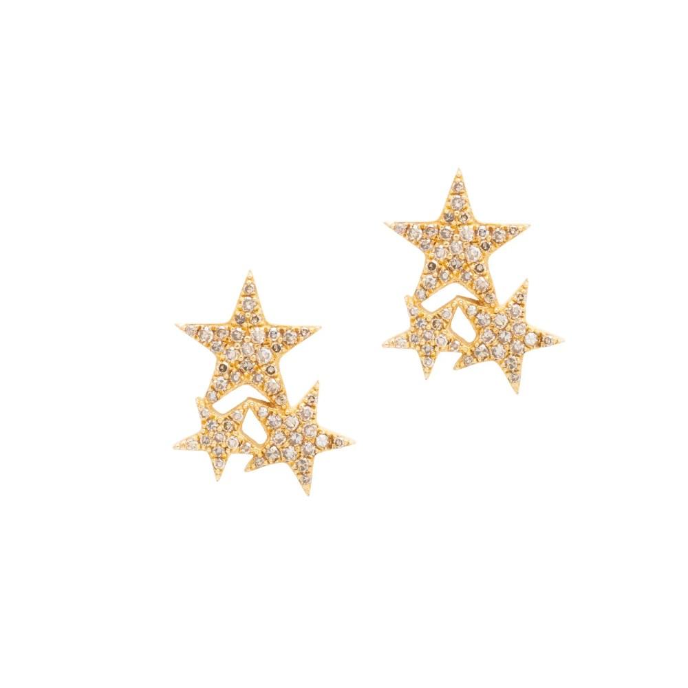 Diamond Triple Star Studs Yellow Gold
