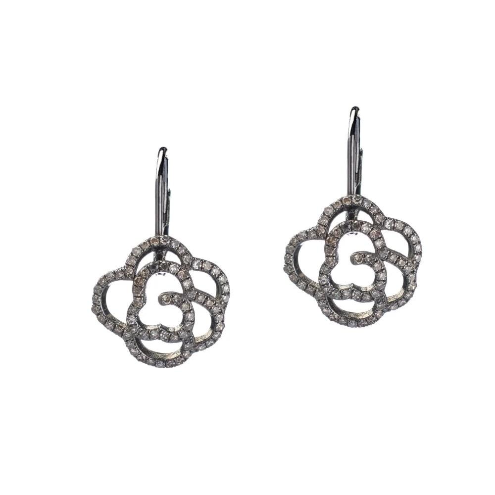 Diamond Rose Drop Earrings