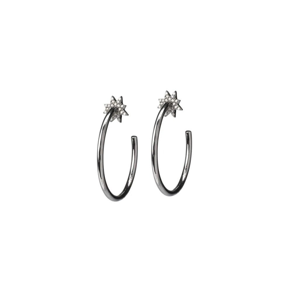 Diamond Sunburst Hoop Earrings