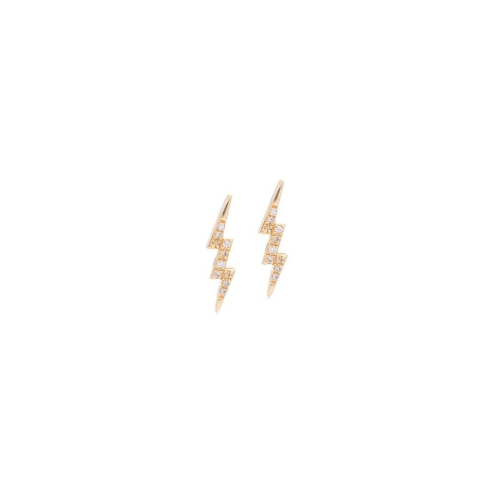 Small Diamond Lightning Bolt Studs Yellow Gold