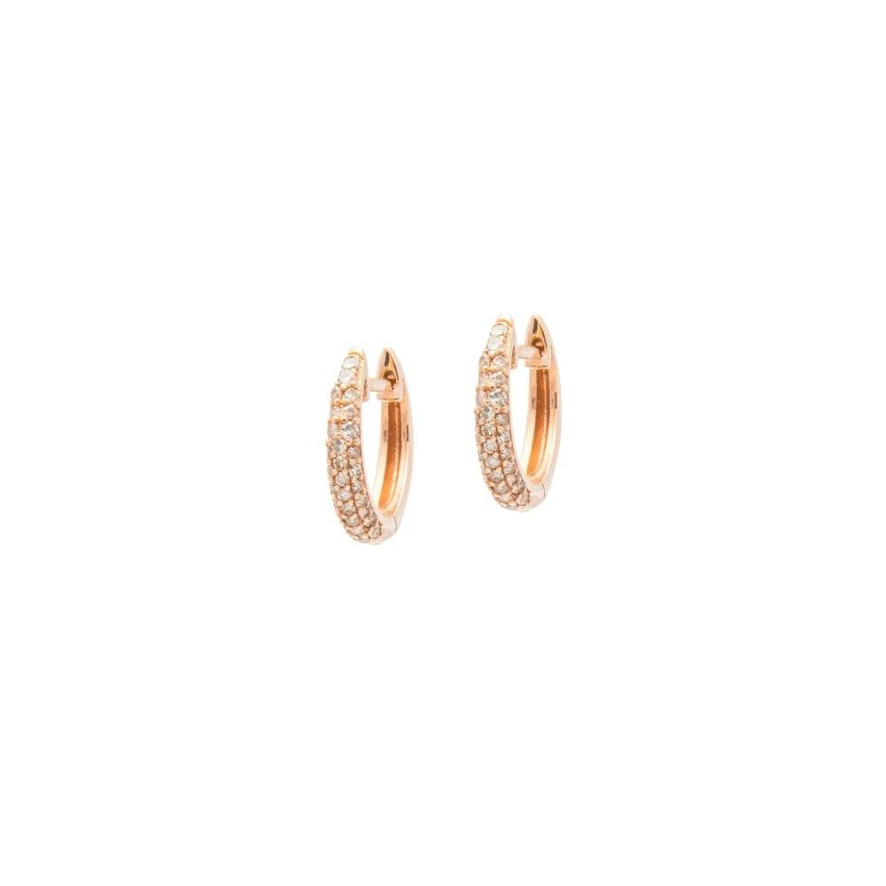 Small Tapered Diamond Huggie Earrings Rose Gold