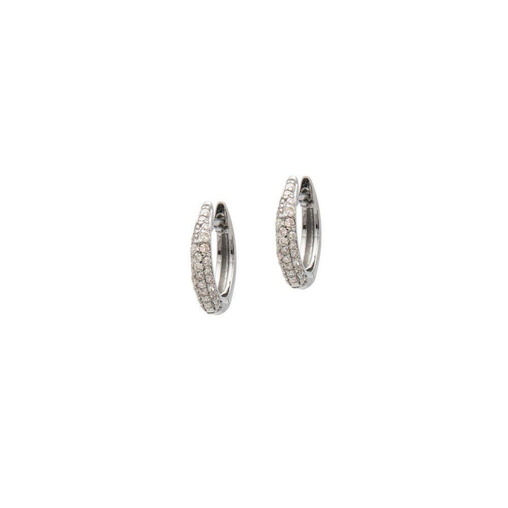 Small Tapered Diamond Huggie Earrings Sterling Silver
