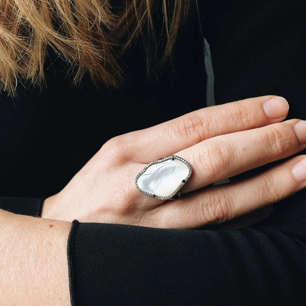White Mother-of-Pearl Diamond Ring