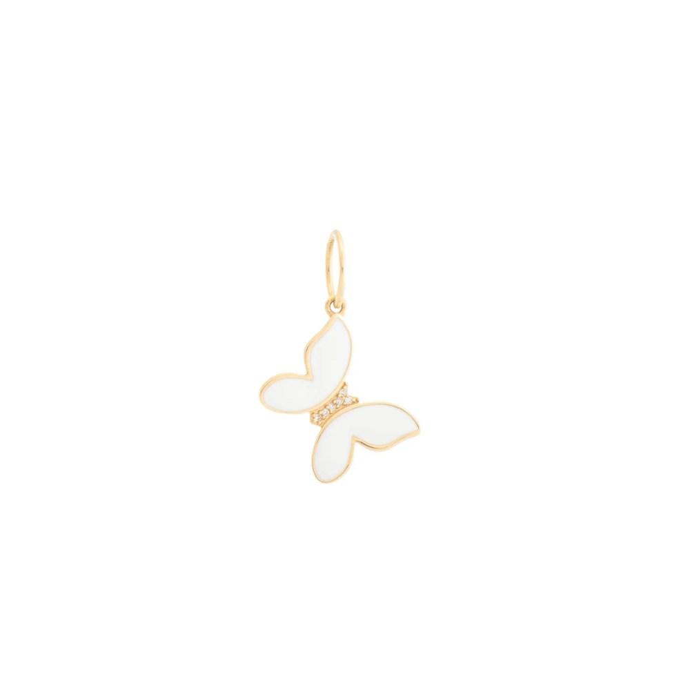 Mini Diamond + White Enamel Butterfly Charm Yellow Gold