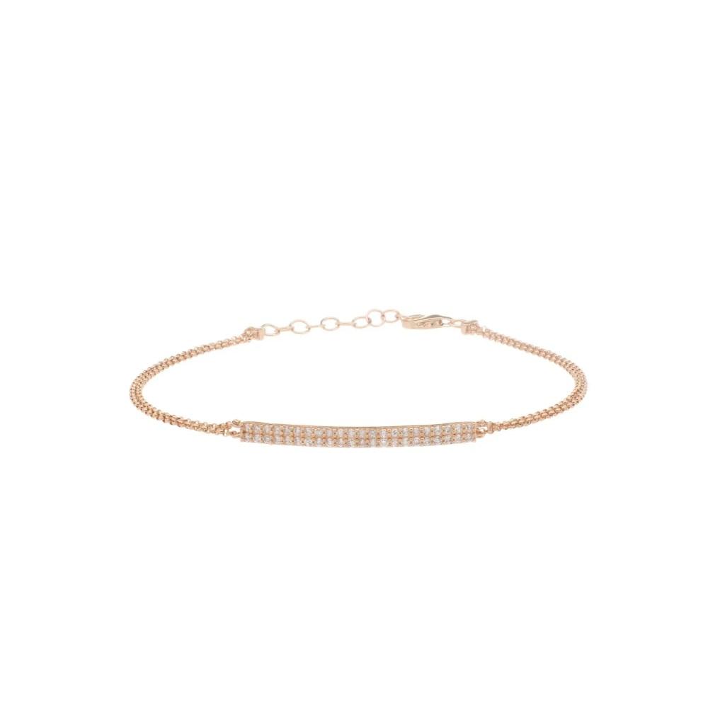 Diamond Bar Double Chain Bracelet 14k Yellow Gold