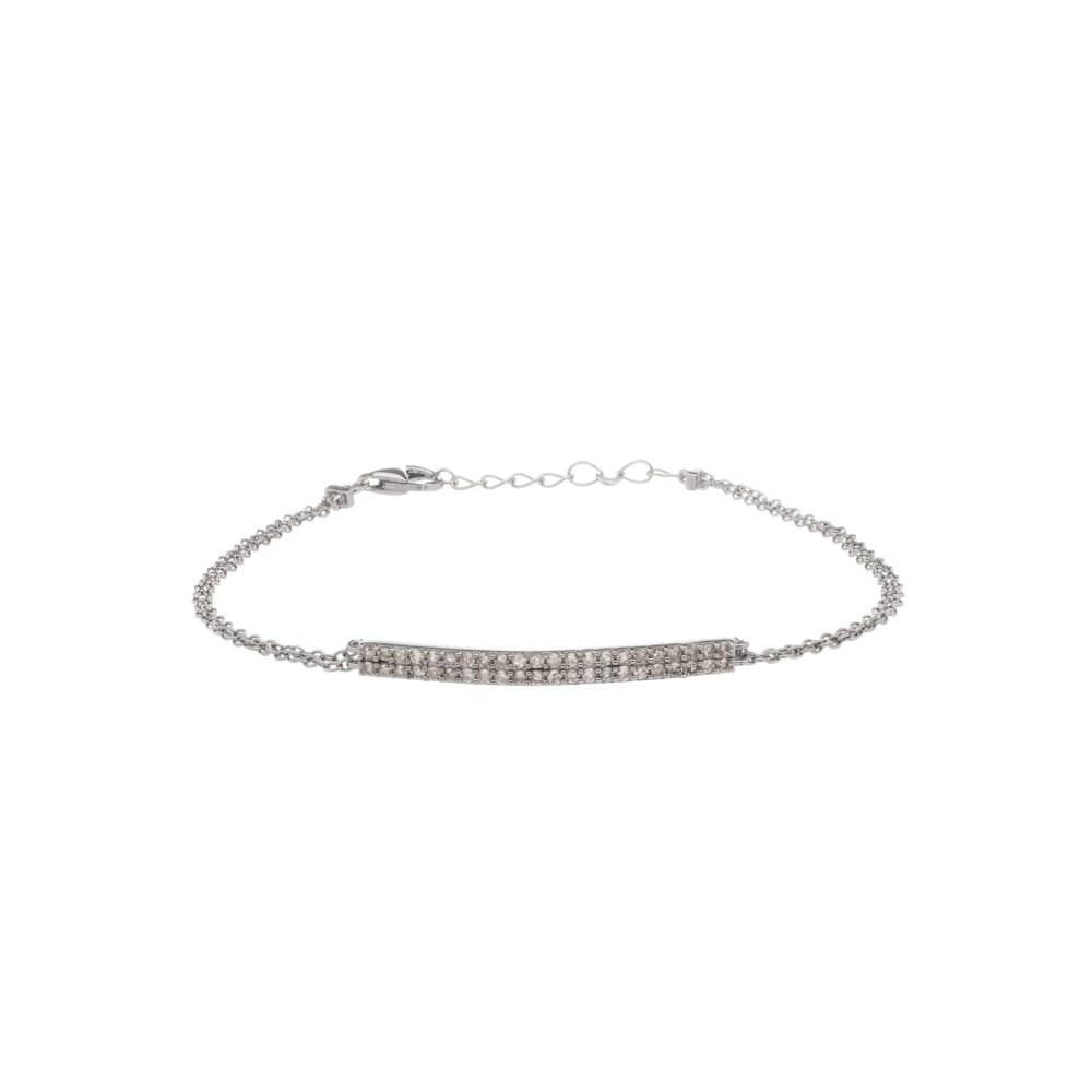 Diamond Bar Double Chain Bracelet Sterling Silver