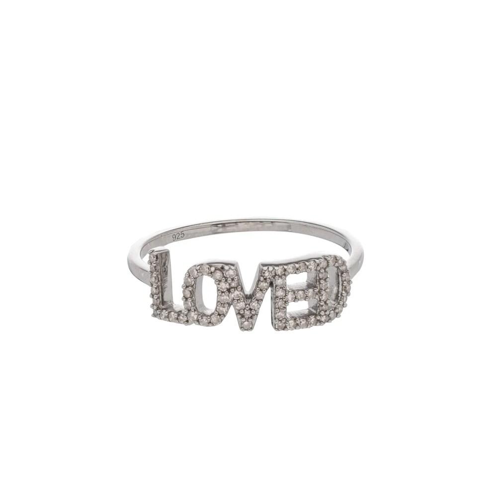 Diamond LOVED Ring Sterling Silver