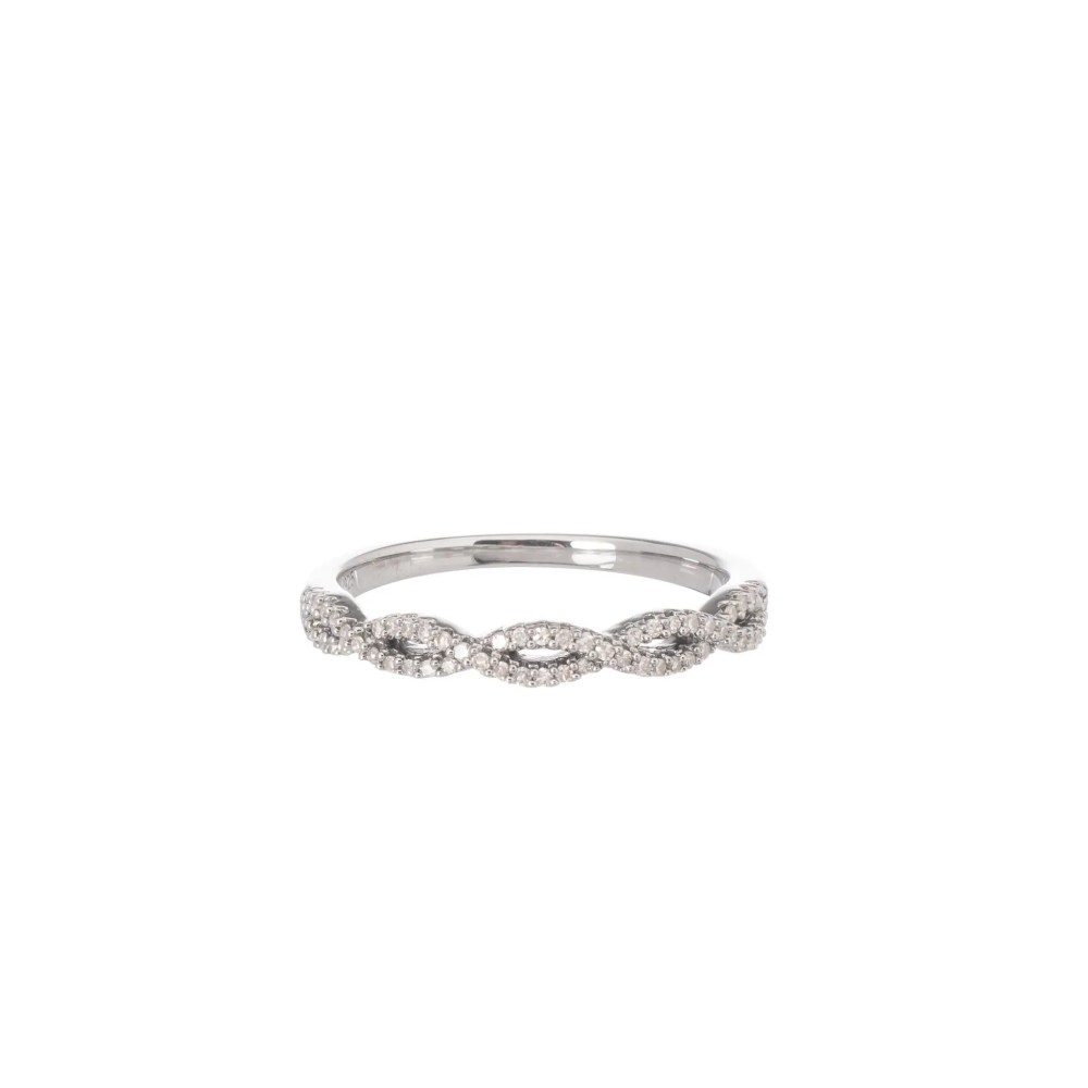 Diamond Twist Stacking Ring Sterling Silver