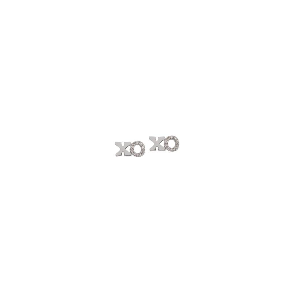Petite XO Diamond Earrings Sterling Silver