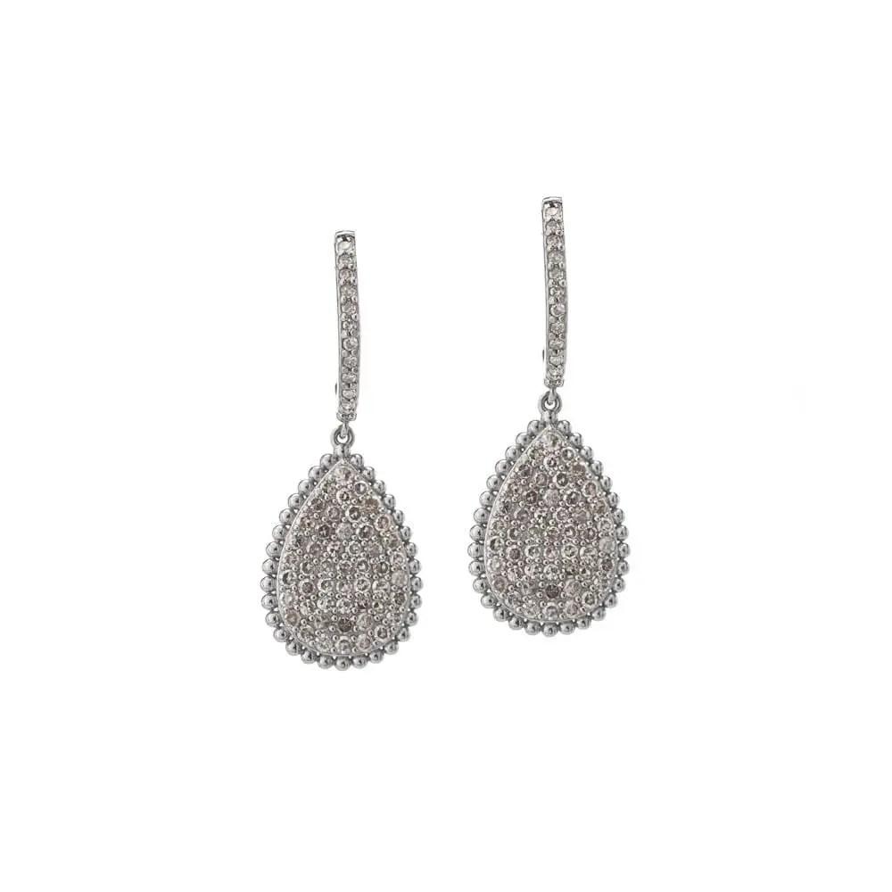 Diamond Dangling Pear Drop Earrings 14k White Gold