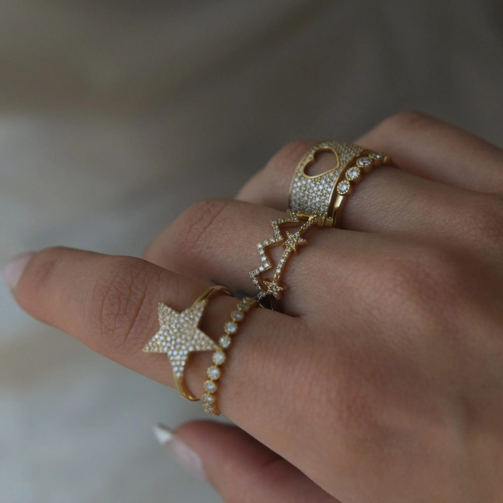 3 Star Mini Diamond Ring