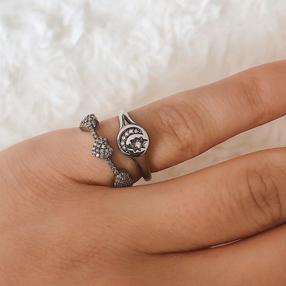 Diamond Moon + Star Pinky Signet Ring