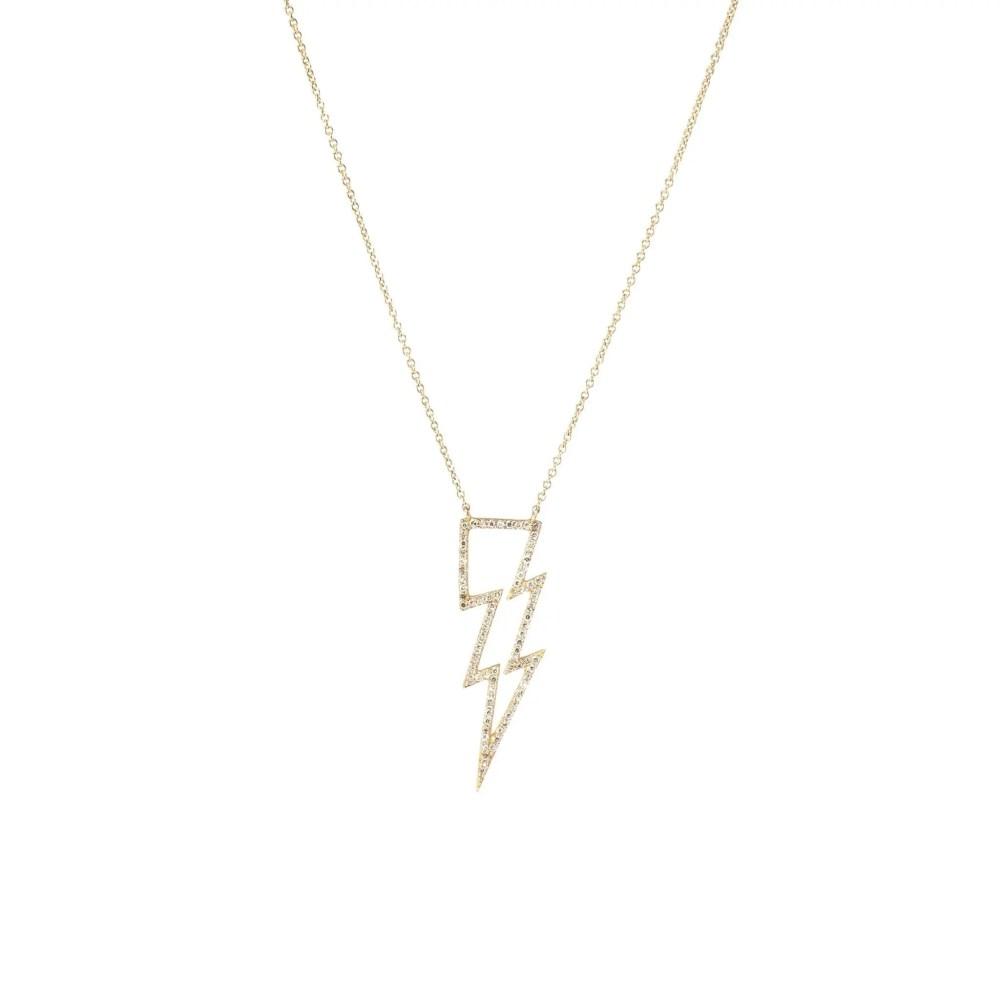 Open Design Diamond Lightning Bolt Necklace Yellow Gold