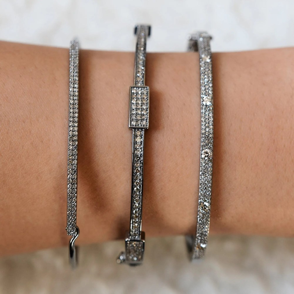 Skinny Pave with Solitaire Diamonds Bangle