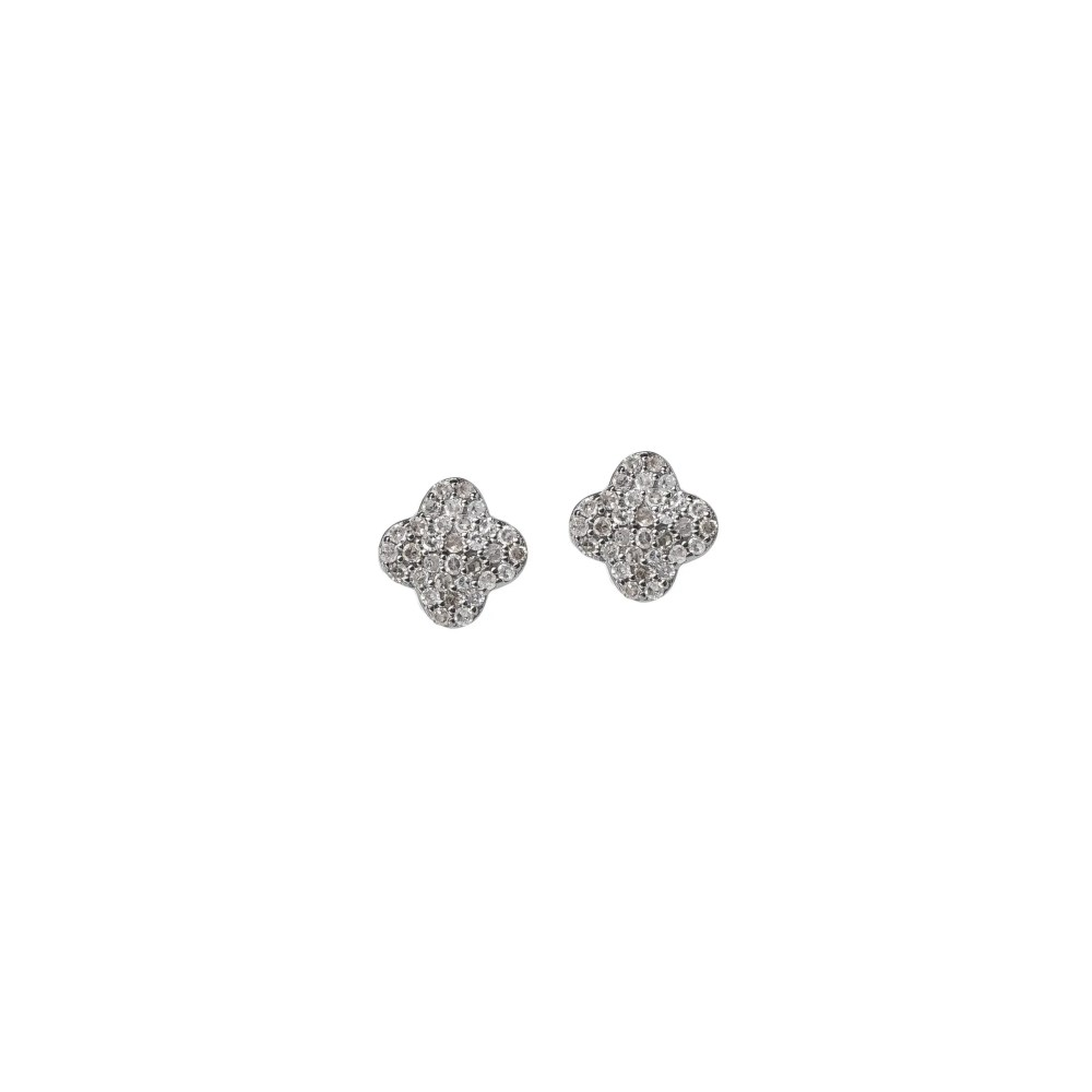 Tiny Pave Diamond Clover Earrings Sterling Silver