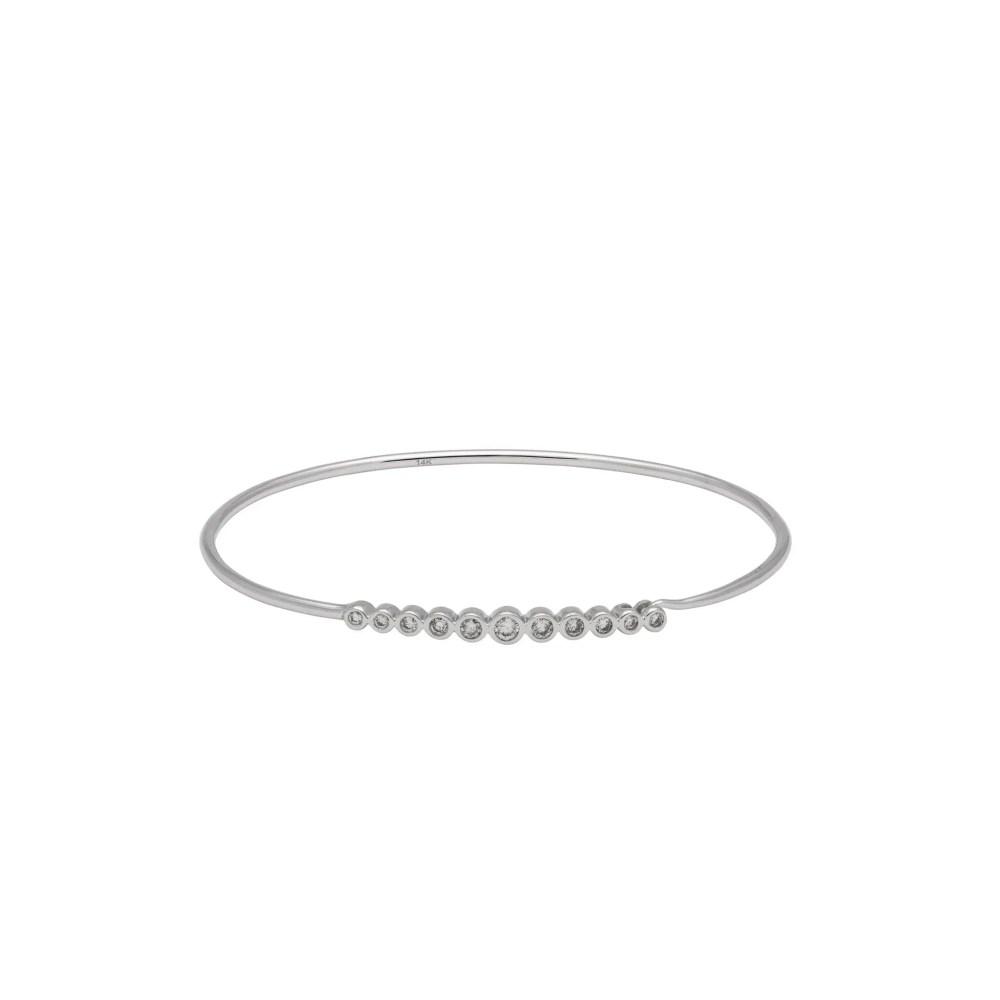 Diamond Bezel Wire Bracelet 14k White Gold