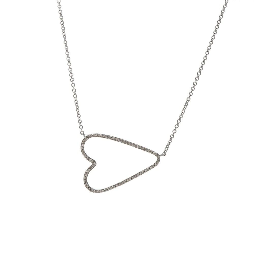 Diamond Open Sideway Heart Necklace Sterling Silver