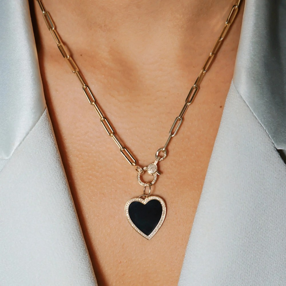 Large Black Enamel and Diamond Heart Charm