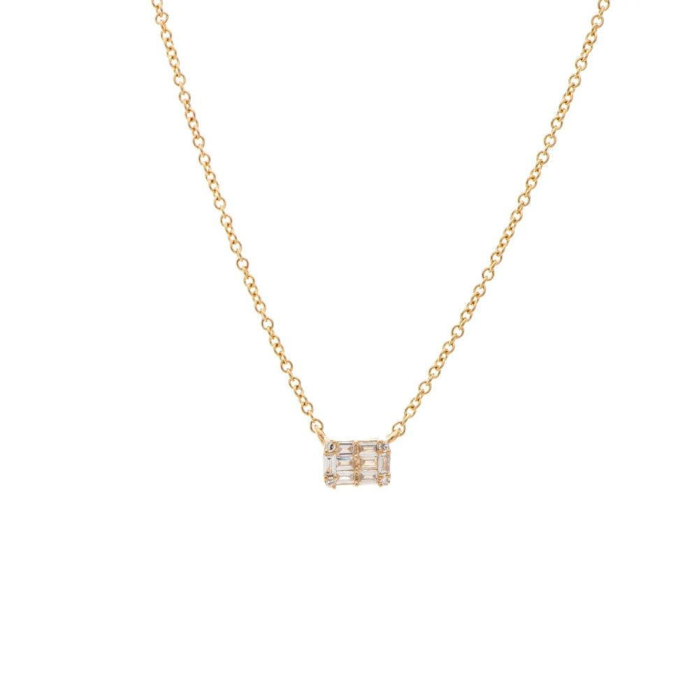 Mini Diamond Baguette Necklace 14k Yellow Gold