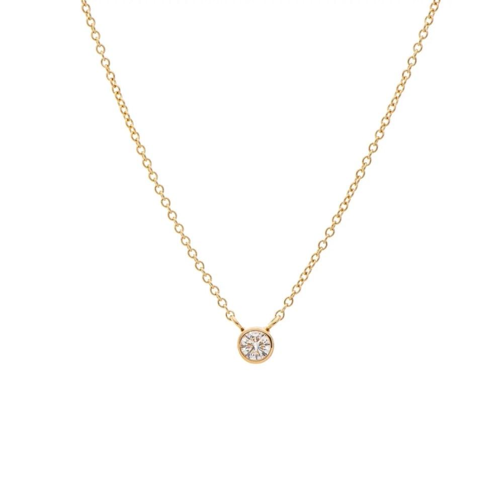 Mini Diamond Solitaire Necklace 14k Yellow Gold
